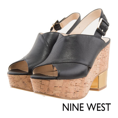NINE WEST--魚口金屬鞋跟涼鞋--個性黑