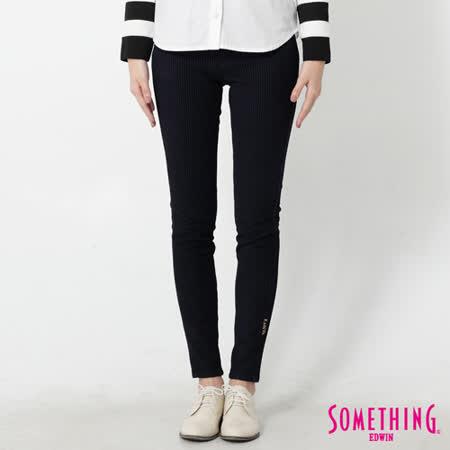 SOMETHING LADIVA 條紋合身窄直筒色褲-女-黑藍