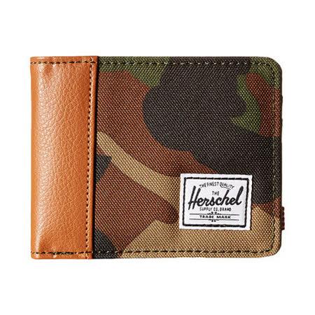 【Herschel】2016男時尚塗層棉織棕迷彩色皮夾【預購】