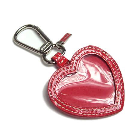 COACH 漆皮心型相片鑰匙圈禮盒(紅)