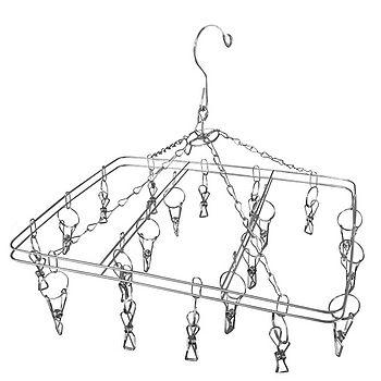 方型不鏽鋼雙層曬衣架(20夾)
