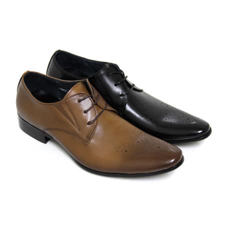 【GREEN PHOENIX】壓花格紋綁帶全真皮尖頭排壓氣墊男皮鞋(男款)