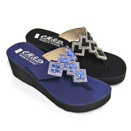 【Pretty】璀璨方格鑽飾堆疊T字厚底夾腳拖鞋