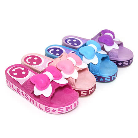 【Pretty】可愛微笑朵結防水厚底拖鞋