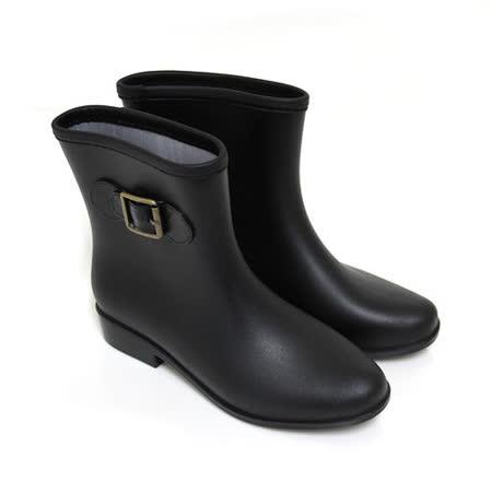 【Pretty】時尚霧面金屬扣環短筒雨靴