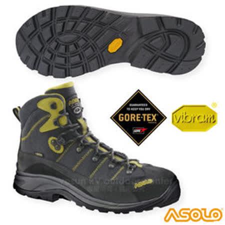 【義大利 ASOLO】男款 SKYLINE GTX 寬楦高筒防水登山鞋(Vibram黃金鞋底)__A23058 石墨灰/黃