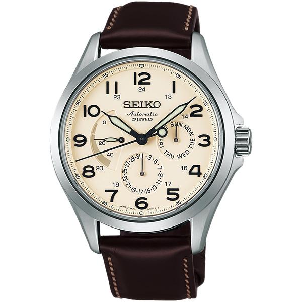 SEIKO Presage 日曆 機械錶~米x咖啡40.5mm 6R21~01A0P^(S