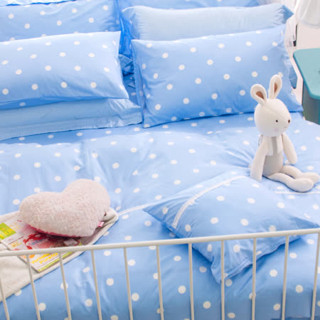 OLIVIA 《水玉普普 藍》 特大雙人床包被套四件組 日雜甜美ZAKKA系列