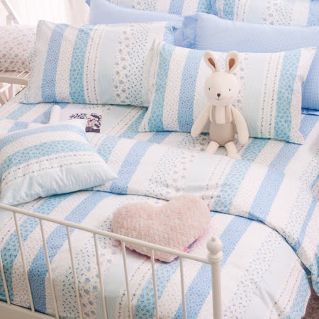 OLIVIA 《維多利亞 藍》單人床包枕套兩件組 英式鄉村田園