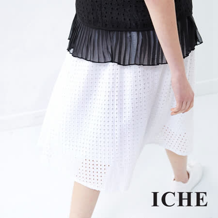 ICHE 衣哲 鏤空雕花純色及膝裙