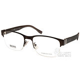 HUGO BOSS光學眼鏡 休閒別緻經典半框款(深棕) #HB0751F K9C