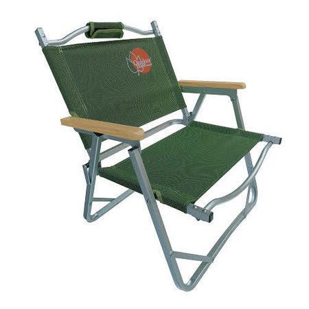 【團購二入】OutdoorBase 小巨人超薄輕巧帆布摺疊椅-綠色25070
