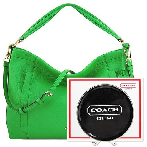 COACH 綠色馬車LOGO皮革壓紋斜背側肩包~大型 固體皮革鞋蠟鞋油~透明色