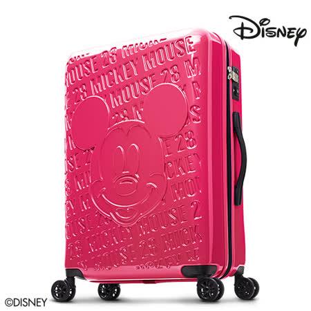 【Disney】1928復刻浮雕24吋PC鏡面拉鍊行李箱-莓紅