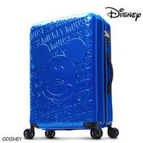 【Disney】1928復刻浮雕28吋PC鏡面拉鍊行李箱-孔雀藍
