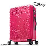 【Disney】1928復刻浮雕28吋PC鏡面拉鍊行李箱-莓紅