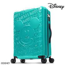 【Disney】1928復刻浮雕28吋PC鏡面拉鍊行李箱-藍綠