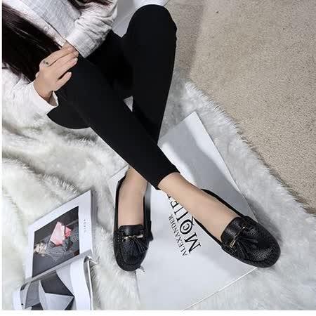 【Moscova】手工真皮系列 舒適百搭流蘇裝飾牛皮厚底鞋-黑色