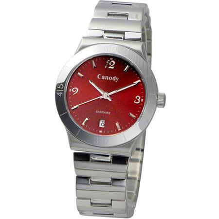Canody 都會風采藍寶石鏡面腕錶(紅-CM9803-D)