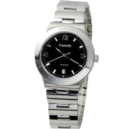 Canody 都會風采藍寶石鏡面腕錶(黑-CM9803-A)
