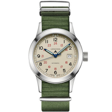 Longines Heritage Military COSD復刻軍事機械錶-綠/40mm L28324735