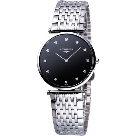 Longines 嘉嵐系列 12顆真鑽石英腕錶-黑/36mm L47554586