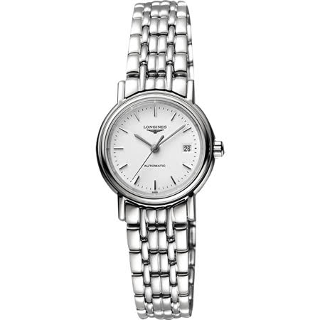 LONGINES Presence 經典優雅機械女錶-白/25mm L43214126