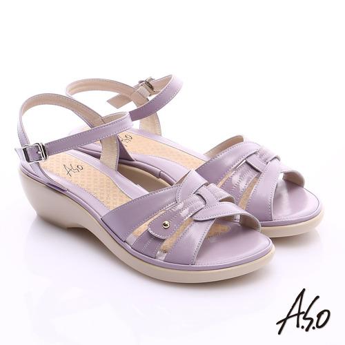 A.S.O 輕旅氣墊 牛皮鏤空寬楦氣墊楔型涼鞋^(淺紫^)