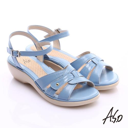 A.S.O 輕旅氣墊 牛皮鏤空寬楦氣墊楔型涼鞋^(淺藍^)