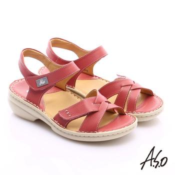 A.S.O 手縫氣墊 交叉真皮氣墊涼鞋(粉)