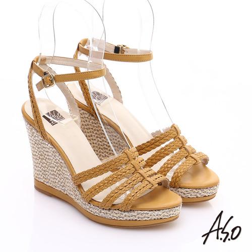 A.S.O 完美涼夏 真皮 編織楔型涼鞋^(黃^)