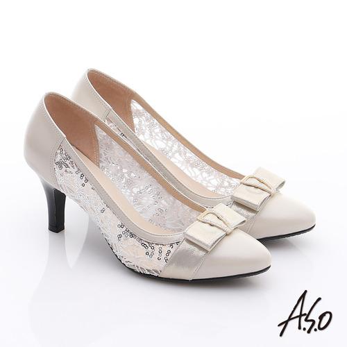 A.S.O 法式浪漫 牛皮拼接蕾絲布蝴蝶結鑽飾高跟鞋 米
