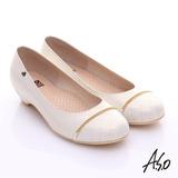 A.S.O 3E舒活寬楦 全真皮拼接菱格奈米窩心低跟鞋(白)