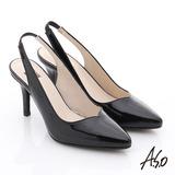 A.S.O 性感女伶 全真皮鏡面後拉帶高跟鞋(黑)
