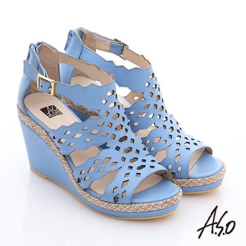 A.S.O 完美涼夏 全真皮波希米亞風彈力楔型涼鞋 淺藍