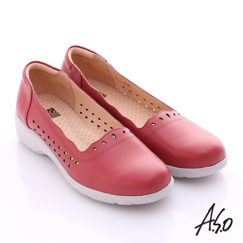 A.S.O 3E健康鞋 真皮水滴雕花寬楦奈米休閒鞋^(紅^)