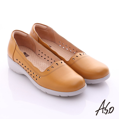 A.S.O 3E健康鞋 真皮水滴雕花寬楦奈米休閒鞋^(茶^)