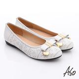 A.S.O 舒適通勤 真皮蝴蝶結奈米防滑跟鞋(白)