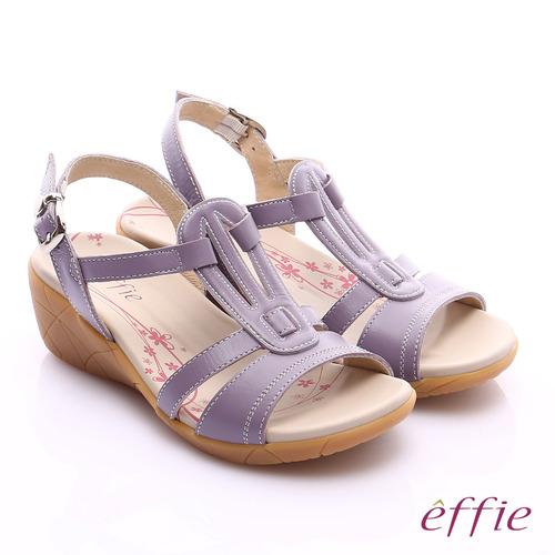 effie 輕量樂活 寬楦真皮工字楔型涼拖鞋^(淺紫^)