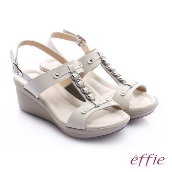 effie 輕量樂活 真皮工字鍊帶高跟楔型涼鞋(白)