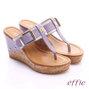 effie 摩登美型 真皮織帶金屬大釦環T字楔型拖鞋(淺紫)