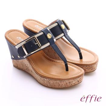 effie 摩登美型 真皮織帶金屬大釦環T字楔型拖鞋(深藍)