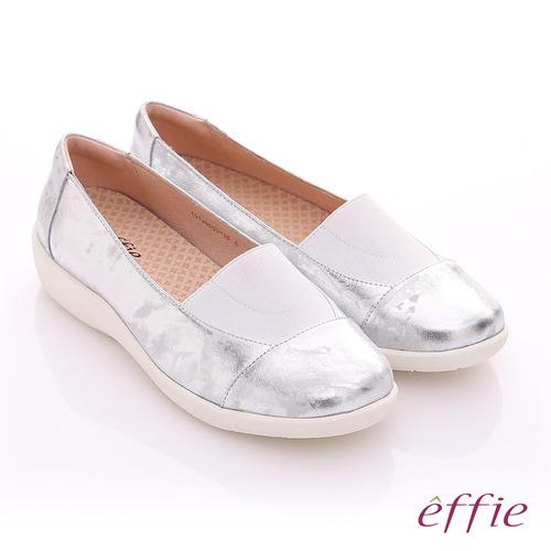 effie 挺麗氣墊 金箔羊皮寬版鬆緊帶奈米休閒鞋^(銀^)