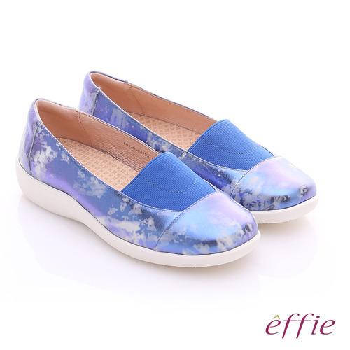 effie 挺麗氣墊 金箔羊皮寬版鬆緊帶奈米休閒鞋^(藍^)