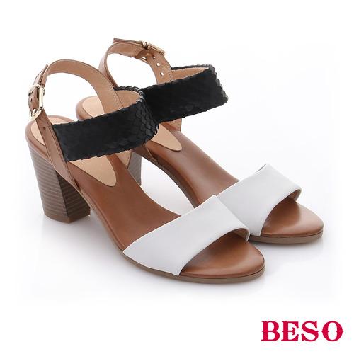 BESO 牛皮一字帶粗跟涼鞋^(黑^)