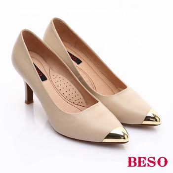 BESO 全真皮拼接金屬窩心高跟鞋(米)