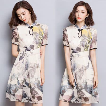 【韓國KW-韓時尚 】古典韵雅改良式旗袍洋裝