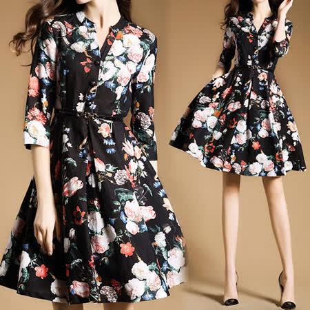 【歐風KEITH-WILL 】中式優雅V領印花大裙襬七分袖洋裝