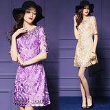 【歐風KEITH-WILL 】奢華刺繡修身顯瘦A字連身裙