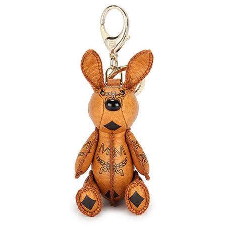 MCM 新款經典LOGO可愛兔造型鑰匙圈吊飾-棕色
